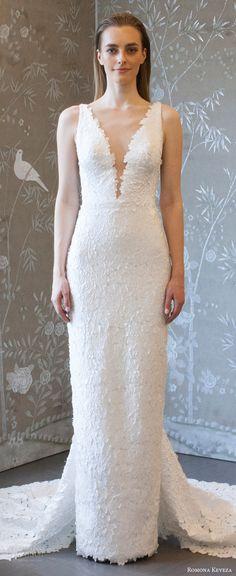 romona keveza spring 2018 bridal sleeveless deep v neck lace sheath wedding dress (rk8406) zv v back elegant chapel train -- Romona Keveza Collection Spring 2018 Wedding Dresses