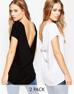 ASOS T-shirt with Scoop Back 2 Pack Save 15%