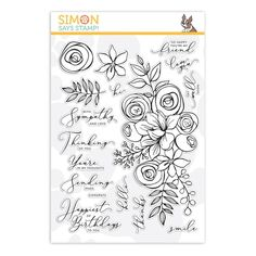 Simon Says Stamp clear stamps are high quality photopolymer and made in the USA. The stamp set measures 6 inches x 8 inches. This stamp coordinates beautifully with our exclusive October Card kit! Birthday Card Design, Birthday Cards, Birthday Bash, Rubber Stamp Company, Jennifer Mcguire Ink, Simon Says Stamp Blog, Craft Supplies Online, Flower Stamp, Flower Cards
