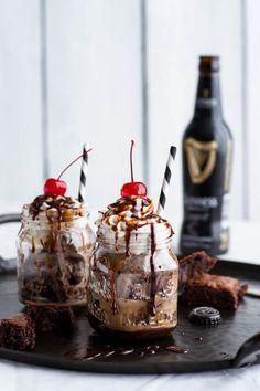 Mini Chocolate Stout Brownie Sundae Floats with Burnt Irish Caramel + Hot Fudge | halfbakedharvest.com