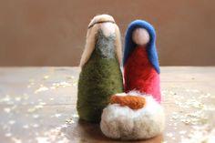 Szent Család, Betlehem, kis Jézus, Mária és József, tű nemezelt-Waldorf-Nature Asztali Szezonális-Kis