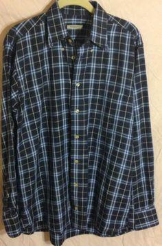 Men's BURBERRY of LONDON Dress Shirt Blue Plaid Cotton Medium EUC Button Down