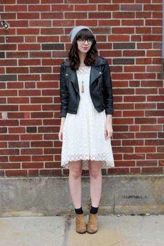 Leather jacket white dress