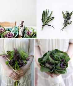Herb and vegetable wedding bouquets