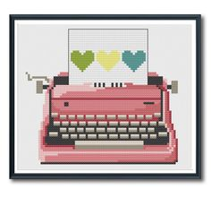 Pink Retro Typewriter Cross Stitch Pattern Instant Download