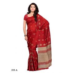 Art Silk Saree in Red and golden color. 512adf  - Online Shopping for Designer Sarees by Muhenera