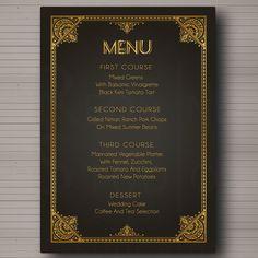 Matrimonio  menu  tema Grande Gatsby  anni '20 Art di redlinecs