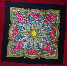 Vintage Black Russian Shawl / Pavlovo Posad shawl / Ukrainian Shawl /headscarf Folk Scarf Babushka Roses Traditional Slavic floral ornaments by VintagePolkaShop on Etsy