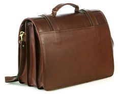 Triple Compartment Briefcase - Brown - In stock - Back View