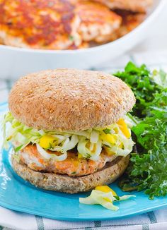 Delicious salmon burgers recipe with red lentils to make them more affordable and nutritious. Topped with delicious slaw and all clean eating ingredients are used. Pin this healthy salmon burger recipe for later. Slaw Recipes, Salmon Recipes, Seafood Recipes, Healthy Recipes, Fish Recipes, Healthy Foods, Healthy Dishes, Healthy Weight, Kebabs