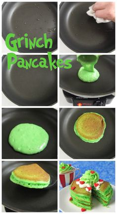 Make Copycat IHOP® Grinch Pancakes for Christmas breakfast. Top fluffy green pancakes with cream cheese icing, green whipped cream, and candy hearts. Christmas Pancakes, Christmas Brunch, Christmas Breakfast, Breakfast For Kids, Christmas Desserts, Christmas Baking, Christmas Treats, Breakfast Recipes, Pancake Recipes