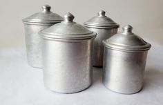 French Kitchen Aluminium CANISTERS SET / French decor /French kitchen /Shabby chic/ French country /Rustic by PetitesChosesDeLaVie on Etsy
