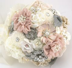 Brooch Bouquet Chic Glam in Ivory and Blush with Linen by SolBijou, $375.00