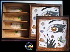 Caja de vino reciclada para convertirse en un armario donde guardar nuestras cremas y maquillaje.