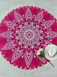 Flower Print Contrast Fringe Trim Round Beach Blanket