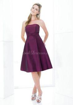 Simple  A-line Knee Length Strapless Taffeta Bridesmaid Dress ldRB9500 $189.69 Purple Bridesmaid Dresses