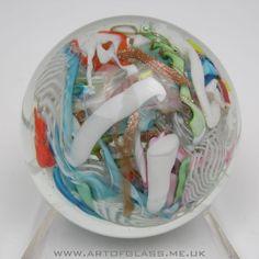Murano scrambled filigree aventurine latticino glass paperweight