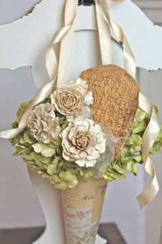 Rustic natural paper flower pew cone with by AlternativeBlooms, $38.00