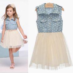 Pre sale  Big girl summer dress 2013  Denim Dress Puff with belt  9A~14A teenage  girls' dresses  3pcs/lot-in Dresses from Apparel & Accessories on Aliexpress.com