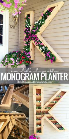 This extra large monogram planter will add some beautiful color to your front walkway! Built with cedar to withstand watering and weathering, plus you can easily re-plant when this season\'s blooms are done.  Tutorial from Ellery Designs on Remodelaholic.com.