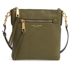 Women's Marc Jacobs Recruit North/south Leather Crossbody Bag (14,450 INR) ❤ liked on Polyvore featuring bags, handbags, shoulder bags, army green, leather handbags, crossbody shoulder bag, leather cross body purse, brown leather shoulder bag and crossbody purses