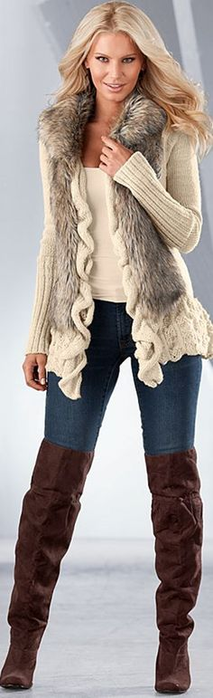 Faux Fur Ruffle Sweater from Venus Fashion, Inc. Saved to Thngs I Like Shop more products from Venus Fashion, Inc. on Wanelo. Style Casual, My Style, Beautiful Outfits, Cool Outfits, Venus Clothing, Embellished Jeans, Jackett, Weekend Wear, Cardigan Sweaters For Women
