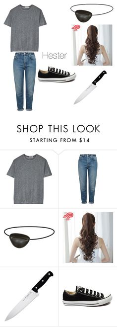 """""""Hester From Scream Queens"""" by sakurarainbow ❤ liked on Polyvore featuring T By Alexander Wang, Topshop, Pin Show, J.A. Henckels and Converse"""