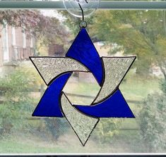 Stained Glass Star Suncatcher - Star of David - Hanukkah Gift - Jewish Decor - Jewish Star - Religious Decor - Star Ornament - - Stained Glass Tattoo, Stained Glass Cookies, Stained Glass Light, Stained Glass Ornaments, Stained Glass Birds, Stained Glass Christmas, Stained Glass Suncatchers, Stained Glass Designs, Stained Glass Projects