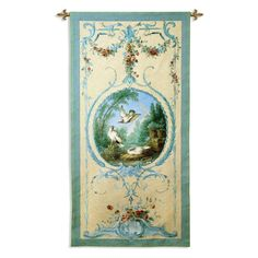 Fine Art Tapestries Paneled Detail with Doves Wall Tapestry - 5255-WH