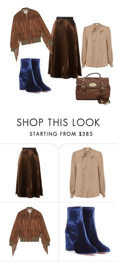 """My Mix @ Match Collection # Brown suede fringed jacket"" by bpspyropoulou ❤ liked on Polyvore featuring Christopher Kane, L'Agence, Gucci, Aquazzura and Mulberry"