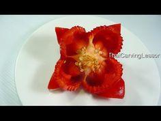 Bell Pepper Flower Carving Design 1,Lesson 13 for Beginners,แกะสลักดอกไม้จาก พริกหวาน แบบที่ 1 - YouTube