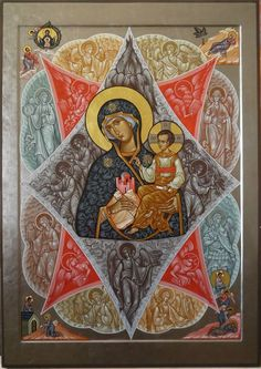 Theotokos & the Angels Images Of Christ, Religious Images, Religious Art, Byzantine Icons, Byzantine Art, Russian Icons, Picture Icon, Best Icons, Holy Mary