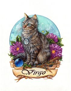ABOUT THIS ART: Zodiac Cat - Virgo 8x10 Print - Actual paper size is 8.5x11. Matte finish. Image is formatted to fit standard 8x10 mats. This print is a beautiful acid free color fast Giclee' with incredible clarity. Shipped flat, packaged in a clear envelope with a backing board.