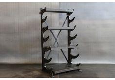 Reclaimed pipe rack shelves by Cleveland Art.