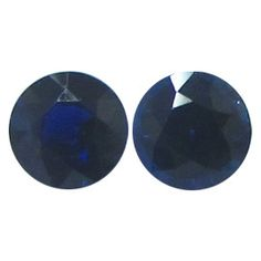 0.55 ct Pair of Round Blue Sapphires Deep Blue -Gold Crane & Co.