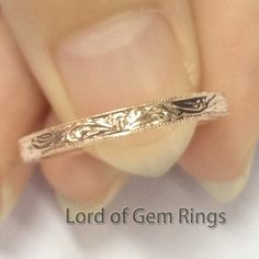 For chrisg748 Size 7.25 14K Rose Gold Hand Engraved by TheLOGR