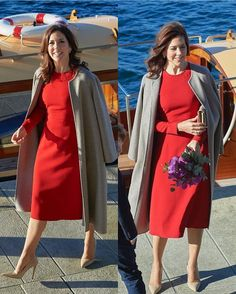 Kronprinsesse Mary arriving at the 2019 Elite Research Award at Copenhagen Opera House, wearing a beautiful red dress. Crown Princess Mary, Prince And Princess, Denmark Royal Family, Danish Royal Family, Love Her Style, Style Me, Denmark Fashion, Beautiful Red Dresses, Danish Royalty