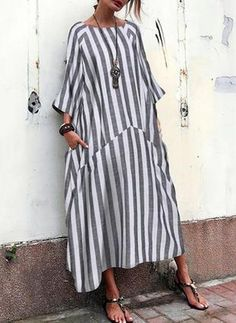 Fashion Black Vintage Striped Patchwork Pockets Plus Size Maxi Dress on POPHERS, there is always a plus size dress suits you! Plus Size Maxi Dresses, Casual Dresses, Short Dresses, Fashion Dresses, Baggy Dresses, Midi Dresses, Casual Outfits, Vestidos Sexy, Vestidos Vintage
