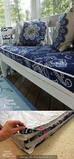 B Popp - Another good idea for your outdoor cushions! DIY: use shower curtains as fabric to be sewn into outdoor cushions and pillows. Home Projects, Sewing Projects, Sewing Tips, Sewing Tutorials, Beginners Sewing, Tutorial Sewing, Sewing Ideas, Diy Casa, Diy Bench