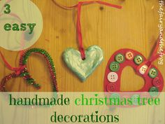The fairy and the frog: How to make 3 easy handmade christmas tree decorations Homemade Christmas Tree Decorations, How To Make Christmas Tree, Handmade Christmas Tree, Little Christmas Trees, Christmas Crafts For Kids, Xmas Decorations, Holiday Crafts, Holiday Fun, Christmas Holidays