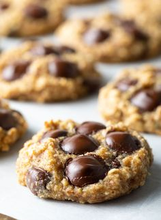 Skinny Banana Oatmeal Cookies with Chocolate Chips - These gluten-free, healthy(ish) oatmeal cookies taste like your favorite banana bread and are loaded with sweet chocolate chips! #bananaoatmealcookies #oatmealbanancookies #chocolatechipcookies #healthybananacookies #banana #bananacookies #oatmealcookies #healthyoatmealcookies #skinnycookies #aspicyperspective Chocolate Chip Recipes, Chocolate Chip Cookies, Chocolate Chips, Banana Recipes, Banana Oatmeal Cookies, Healthy Oatmeal Cookies, Tasty Cookies, Skinny Cookies, Easy No Bake Desserts