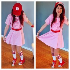 Happy Heel-O-Ween! Ellen found the perfect Rock & Candy Sneaker Wedges to compliment her Rockford Peach costume ... Play Ball!
