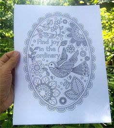 Printable Find Joy In The Ordinary Coloring Pages With And Without Texts Colouring Posters For Grown Ups