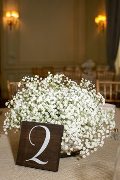 Classic Baby's Breath Centerpiece | Mary Kate McKenna Photography