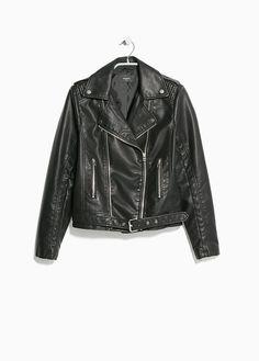 Cazadora biker cinturón MANGO OUTLET 30€