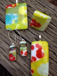 Summery, handmade, fused glass jewelry by Miss Olivia's Line.  Additional items posted at https://www.facebook.com/MissOliviasLine