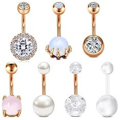 Longita Belly Button Rings Stainless Steel 14g Belly Rings for Women Opal Pearl Turquoise Navel Ring Belly Button Piercing Jewelry Pack Silver Rose Gold 10mm