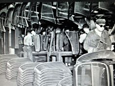 1937 Ford grille assemblies being repaired at the Ford River Rouge plant. Ford V8, Cars And Motorcycles, Hot Rods, Plant, River, Black And White, Red, Black N White, Black White