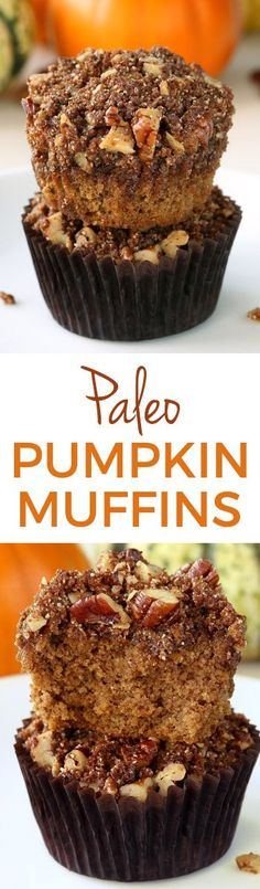 Easy Paleo Pumpkin Muffins with Streusel (grain-free, dairy-free, gluten-free). With a recipe video.