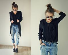 Mango Blouse, Zara Jeans, Urban Outfitters Glasses, Jeffrey Campbell Boots